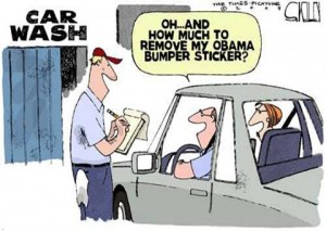 Editorial cartoon removing Obama bumper sticker
