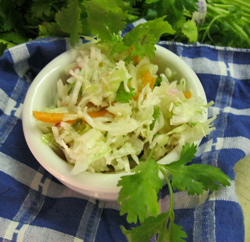 Cole Slaw with cilantro and sauteed garlic